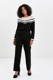 מכנסיים בגזרה ישרה למידות גדולות של Evans בשחור