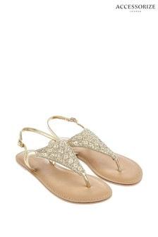 Accessorize Natural Athena Embellished Sandals