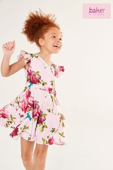 Baker by Ted Baker Girls Pink Floral Wrap Dress