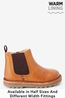 Кожаные ботинки челси с теплой подкладкой (Младшего возраста)