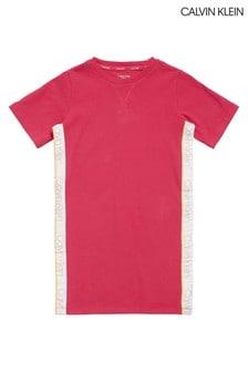 قميص نوم مضلع CK وردي من Calvin Klein