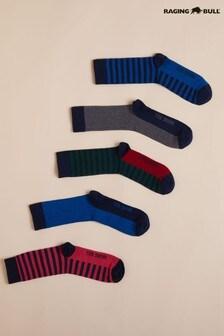 Raging Bull藍色男士橄欖球條紋襪子五對裝