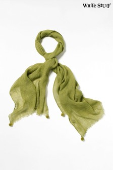 Zielony, lniany szalik White Stuff Savannah