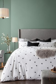Monochrome Embroidered Duvet Cover and Pillowcase Set