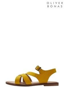 Oliver Bonas Überkreuzte Ledersandalen, gelb
