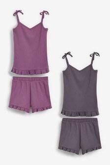 2 Pack Jersey Rib Cami Top Short Pyjamas (3-16yrs)
