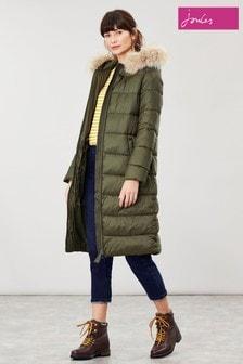 Prešívaný kabát Joules Touchline s odnímateľnou kapucňou s umelou kožušinou