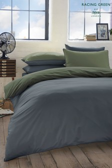 Racing Green Colburn Reversible Brushed Cotton Duvet Cover and Pillowcase Set