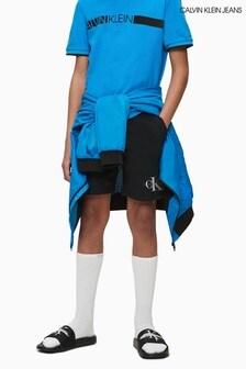 Calvin Klein Black Monogram Sweat Shorts