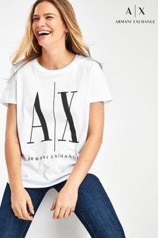 Armani Exchange Icon T-Shirt mit Logo, Weiß