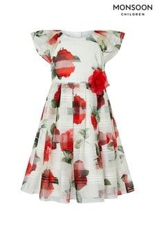 Monsoon Ivory Valentine Stripe Roses Dress