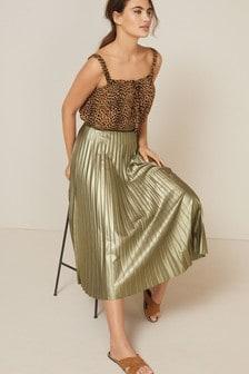 Плиссированная юбка с эффектом металлик