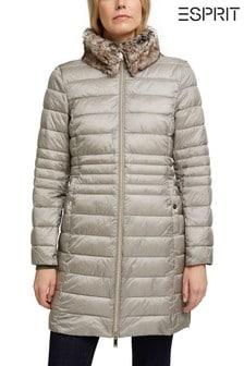 Šedá outdoorová bunda Esprit Thinsulate™ s odepínatelným límcem z umělé kožešiny