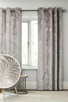 Cut Velvet Palm Leaf Eyelet Lined Curtains