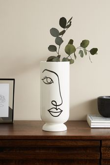 White Face Ceramic Vase