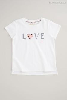 חולצתטי שלAngel & Rocket עם הדפסLove בצבעלבן