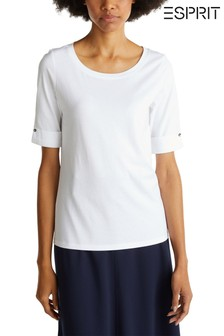 Esprit White T-Shirt With Turn-Up Sleeve Including Button Detail