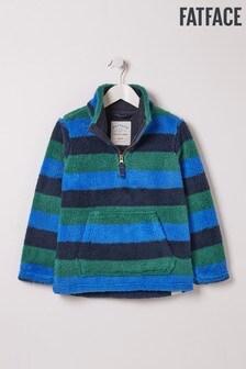 FatFace Blue Half Neck Stripe Fleece Sweat Top
