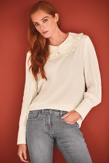 Large Ruffle Collar Blouse