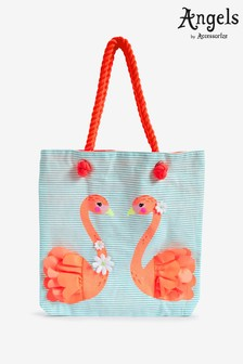 Angels by Accessorize Pink Flora Flamingo Striped Shopper Bag