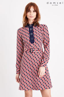שמלה עם הדפס של Damsel In A Dress דגם Mindy Chevron באדום