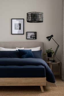 Navy 100% Cotton Supersoft Brushed Fitted Sheet