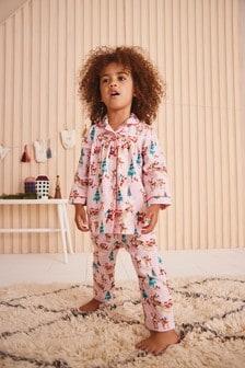 Tkané pyžamo na gombíky s vianočným motívom (9 mes. – 8 rok.)