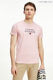 Tommy Hilfiger Rózsaszín halmozott Tommy Flag póló