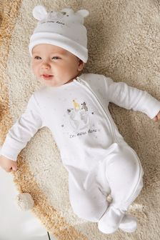 GOTS Organic I'm New Here Zip Sleepsuit and Hat (0-6mths)