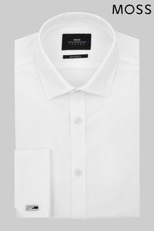 Белая приталенная рубашка с двойными манжетами Moss London