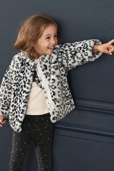 Куртка из искусственного меха со звериным узором (12 мес. - 7 лет)