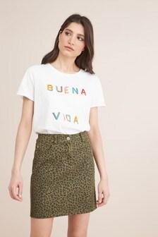 Джинсовая юбка с леопардовым принтом