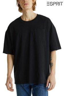 Esprit Kastiges T-Shirt, Schwarz