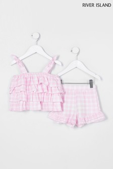 River Island Purple Gingham Cami And Shorts Set
