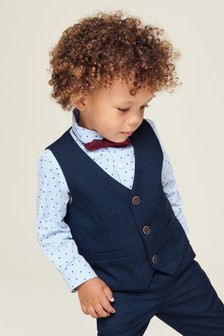 Waistcoat, Shirt And Bow Tie Set (3mths-7yrs)