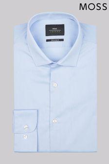 Голубая приталенная эластичная рубашка с прямыми манжетами Moss London