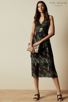 Ted Baker Black Malinae Highland Tiered Pleated Midi Dress