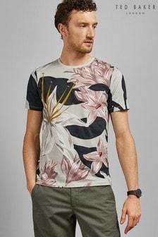 Ted Baker Geblümtes T-Shirt, grau