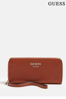Guess Cognac Vikky SLG Large Zip Around Purse