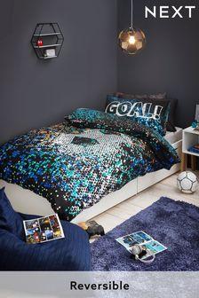 Black Pixel Football Reversible Duvet Cover and Pillowcase Set