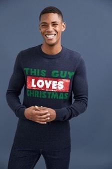 """Świąteczny sweter z okrągłym dekoltem i napisem """"Loves/Hates"""""""
