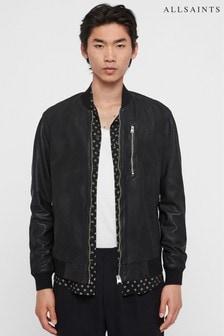 AllSaints Black Kino Collarless Leather Jacket