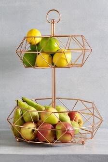 מתקן 2 מדפים לירקות ופירות בצבע רוז גולד