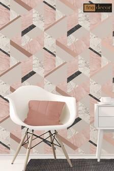 Fine Décor Pink Marble Effect Geo Wallpaper