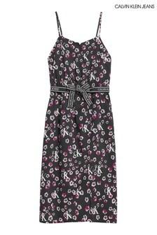 فستان متوسط الطول أسود مشجر قصير من Calvin Klein