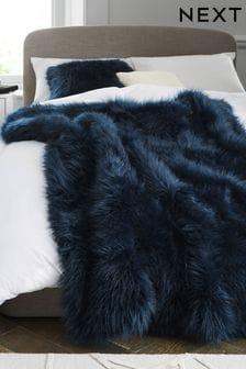 Navy Blue Long Faux Fur Throw
