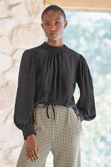 Текстурированная рубашка с длинными рукавами