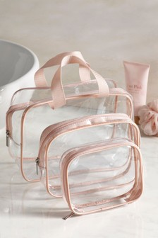 Set of 3 Pink Cosmetics Bags