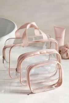 Set de 3 genți pentru cosmetice roz