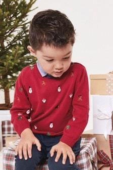 Джемпер с рубашкой-обманкой и рождественской вышивкой (3 мес.-7 лет)